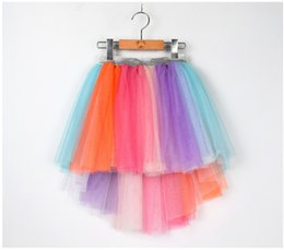 wholesale tutus Australia - Girls Princess Mermaid Tutu Skirt Baby kids Asymmetrical Lace Tulle mini Skirts Ruffles Rainbow children Unicorn Holiday Party Clothes C5086
