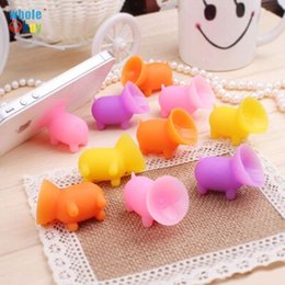 standing holder tablet UK - 2000pcs lot Universal Silica Gel Multi Color cartoon Pig Sucker Stand Holder lazy bracket for Cellphone Tablet Accessory Free Shipping