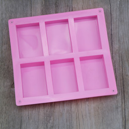 silicone handmade tools UK - Silicone soap molds 6 Hole Rectangle DIY Baking Mold Tray Handmade Cake Biscuit Cookie Candy Chocolate Moulds baking Tools Food Craft making