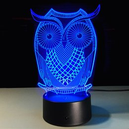 $enCountryForm.capitalKeyWord Australia - OWL 3D Night Light RGB Changeable Mood Lamp LED Light DC 5V USB Decorative Table Lamp Get a free remote control