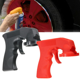 Spray Can Painting Australia - New Portable Handle Spray Gun Car Styling Aerosol Spray Can Handle with Full Grip Trigger for Painting Red Black