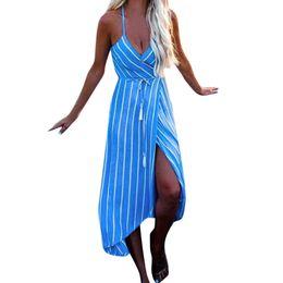 Green Midi Evening Dresses UK - Boho summer 2019 fashion dress Women Summer midi Stripe Dress Evening Party Beach Dress