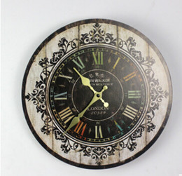 walls watches 2019 - Retro Fashion Wooden Digital Wall Clock Silent Wall Sticker Clocks Antique Style Wood Watch Home Living Room Decoration