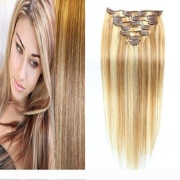 18 613 clip hair human Canada - A Peruvian Straight Hair Clip In Human Hair Extensions 7Pcs Set 100 gram Full Head Non-Remy Hair 27 613