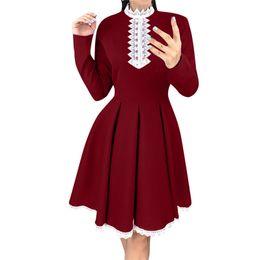 Elegant Longer Length Lace Dress Australia - Long Sleeve Patchwork Lace Dress women Summer Crochet A Line Dress women Elegant knee-length vestidos mujer 2019 casuales 40ja14