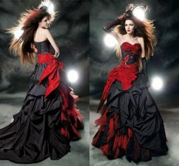 $enCountryForm.capitalKeyWord Australia - Black And Red Gothic Wedding Dresses 2019 Vintage Court Style Sweetheart Ruffle Taffeta Floor Length Big Bow Sexy Corset Bridal Gowns