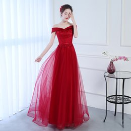 $enCountryForm.capitalKeyWord Australia - Wine Red Bateau Long Bridesmaid Dresses Lace Up 2019 Tulle Bridesmaid Dresses New Wedding Party Dresses