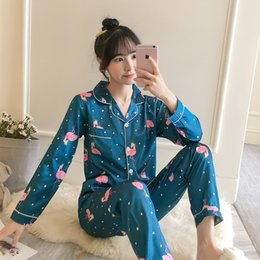 Wholesale nighties online – 2019 Autumn Women s Pajamas Sets with Flower Print Fashion Luxury Female Faux Silk Two Pieces Shirts Pants Nighties Sleepwear