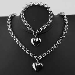 silver chains rolo bracelets NZ - High Quality Women's Jewelry Sets Silver Stainless Steel 8mm Wide Rolo Link Chain Heart Pendant Bracelet and Necklace Jewelry