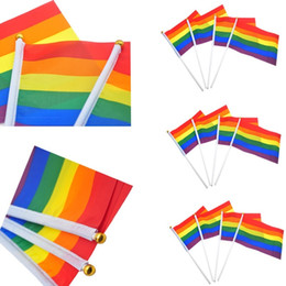 hand waving flags 2019 - Newest Rainbow Flags Gay Pride Stick Flag 21*14CM Creative Hand Mini Flag Portable Waving Handhold Using Home Festival P