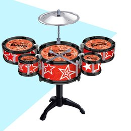 black musical instruments Canada - Children'S Jazz Drums Boys Early Education Educational Toys Exercise Coordination Hands-On Ability Musical Instrument Drum Sets