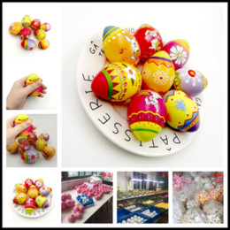 Squeezing Balls Free UK - Squishy Easter Eggs Slow Rising Jumbo Multicolor Eggs Pu Sponge Foam Color Printing Ball Toys Squeeze Decompression Brithday Party Gifts