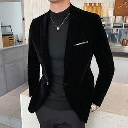 Men's Autumn and Winter Down Suit Jacket Men's Burgundy Suit Jacket Formal Dress Solid Color Plus Size on Sale