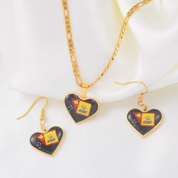 Western earrings necklace sets online shopping - Flag of Western Province Heart PNG Pendant Necklaces and Earrings for Women Girls Papua New Guinea Jewellery Sets