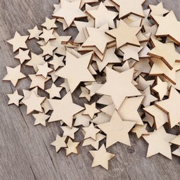 disc tools NZ - 100PCS Unfinished Wooden Stars Assorted Size Cutout Discs For Arts Crafts DIY Decoration Birthday Wedding Display Decor Other Hand Tools