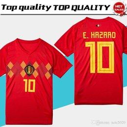 8da067695 Cup World Belgium Soccer Jersey Belgique Home Red Soccer Shirt  10 E.hazard   7 De Bruyne  9 R.lukaku Belgien Football Uniform