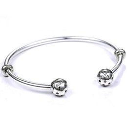 $enCountryForm.capitalKeyWord Australia - Moments Open Bangle Pave Shimmering End Caps With Cubic Zirconia Bracelet Fit Bead Charm 925 Sterling Silver Diy Jewelry