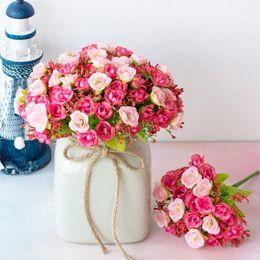 $enCountryForm.capitalKeyWord Australia - 21 diamond rose 7 fork spring small rose bud simulation flower Head silk Artificial flower family wedding decoration