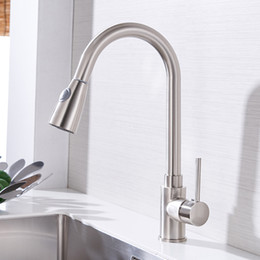 kitchen taps pull out black NZ - Kitchen Faucets Silver Single Handle Pull Out Kitchen Tap Single Hole Handle 360 Rotate Crane Chrome Swivel Sink Mixer Tap408906