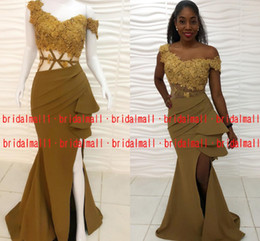 Red gold pageant dResses online shopping - African Appliqued Satin Olive Evening Dresses Mermaid High Split Long Prom Dress Sexy Formal Party Pageant Gowns Arabic Robe de soirée