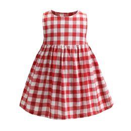 $enCountryForm.capitalKeyWord Australia - Retail girls dresses baby girl red plaid sleeveless ruffle cotton vest skirt kids princess dress casual skirts children designer clothing