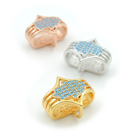 $enCountryForm.capitalKeyWord UK - 17*15*8mm Micro Pave Kallaite CZ Hand Beads Fit For Making DIY Bracelets Or Necklaces Jewelry