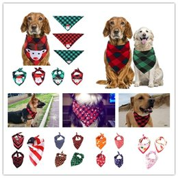 Small triangle Scarf online shopping - 12 Designs Christmas Pet Scarf Triangle Neckerchief Dog Bandana Plaid Snowflake Kerchief Costume Accessories Cats Dogs Apparel