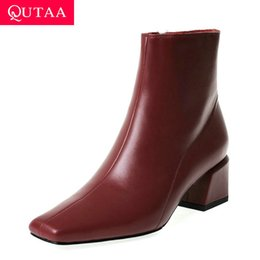 men leather short zipper boot 2020 - QUTAA 2020 Women Ankle Boots Concise Cow Leather Square Heel Comfort Women Shoes Retro Square Toe Zipper Short Boots Siz