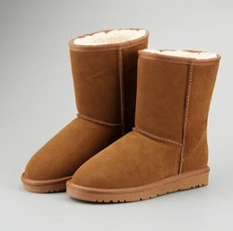 Fashionable Snow Boots NZ - Hot 2018 new fashionable Winter Classic genuine Leather shoes Men Snow Boots Women boots shoes cowhide Wool in-tube boots Water-repellent
