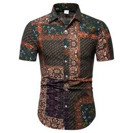 Style Men Top Korean Australia - Korean Style Male Slim Blusa 2019 Summer Wear Boys Blouse Turn-down Collar Man Tops Maturn Man Vintage Print Shirts Casual 5XL