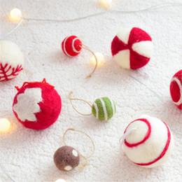 Felt balls wholesale online shopping - 6pcs set Wool Felt Ball Pendant Xmas Tree Snowflake Pattern Hanging Ornaments DIY Christmas Decorations Craft Gifts Party Decor