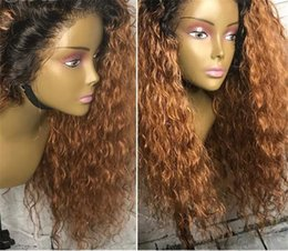 Dark Roots Blonde Hair Australia - 150% 180% Ombre Blonde Dark Roots Full Lace Human Hair Wigs Kinky Curly Pre Plucked Brazilian Remy Hair Lace Wig