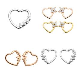 $enCountryForm.capitalKeyWord NZ - 50pcs Body Jewelry Piercing - CZ Heart Nose Hoop Ring Ear Helix Daith Cartilage Tragus Earring Nose Septum Ring Bend Love Shine