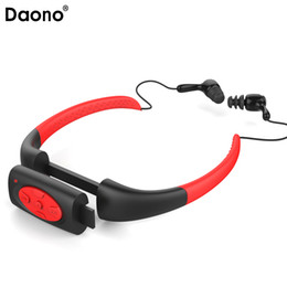 neckband mp3 player 2019 - Daono 4GB Waterproof IPX8 Sports MP3 Neckband FM Radio Swimming Surfing Running MP3 Music Player with Earphones Underwat