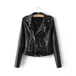 Discount sexy motorcycle jacket - Women Candy Color Faux PU Leather Short Motorcycle Jacket Zipper Pockets Sexy Punk Coat Ladies Casual Outwear Tops Casac