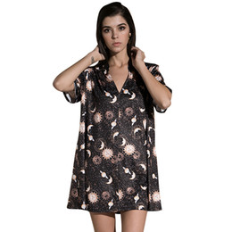 T Shirts Woman Vintage Australia - Anself Vintage Women Mini Loose Dress Short Sleeves V-neck Moon Planet Print Casual Straight T-shirt Dresses Black Satin Dress Y19050805
