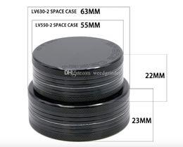 55mm / 63mm 2layer Marken-Raum-Kasten-Tabakschleifer für das Rauchen Aluminium CNC-Metallkrautschleifer geben Verschiffen frei im Angebot