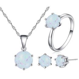Jewelry Sets Rhinestone 925 Australia - Silver 925 Jewelry Set for Women 8mm Opal Pendant Necklace Ring Earrings Sterling Silver Rhinestone Custom Jewellery Bijoux Gift