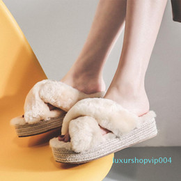 lamb shoes woman UK - Crystal2019 Baby Lamb Shoes, Autumn Muffins, Thick Soles One The Word Drag Flat Bottom All-match Outside Clothes Sociology Woman Slipper