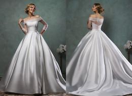 $enCountryForm.capitalKeyWord Australia - Simple Vintage A line Wedding Dresses Bridal Gowns With Pockets Long Illusion Sleeves Satin Court Train Cheap Wedding Reception Dress
