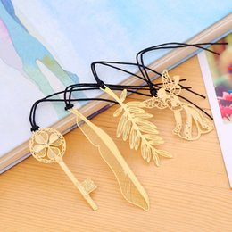 $enCountryForm.capitalKeyWord NZ - 200pcs lot 4 Styles Party Favor Angel Gold Metal Bookmark Boxed For Baptism Baby Bridal Shower Christening Wedding Favours