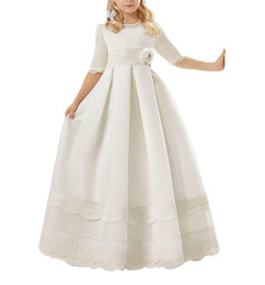 $enCountryForm.capitalKeyWord Australia - Cute White Half Sleeve Lace Girls Pageant Dress Rose A-Line2019 Cheap Girl Communion Dress Kids Formal Wear Flower Girls Dresses for Wedding