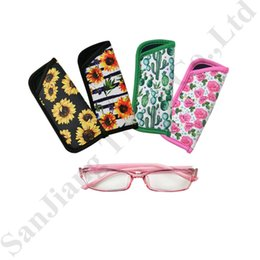 Discount striped beach bags wholesale - RTS Eyeglasses Pouch Floral Striped Neoprene Carry Bag Glasses Case Container Waterproof Sunglasses Protable Storage Bag