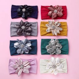 toddler hair wraps NZ - Cute Baby Girl Nylon Headbands Flower Headband with Rhinestone Infant Photo Props Toddler Head Wrap Turban Soft Hair Accessories New