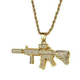 golden chain necklace men NZ - Hip Hop Jewelry Gifts Golden Bling Crystal M4 Gun Pendants Women Men Full Rhinestones Chains Night Bar Club Rapper Necklaces C19041704