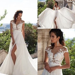 plus size see through wedding dresses Australia - 2020 Milla Nova Cheap Wedding Dresses Sheer Jewel Neck See Through Lace Appliques Side Split Chiffon Beach Plus Size Formal Bridal Gowns