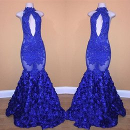 $enCountryForm.capitalKeyWord Australia - Vintage Royal Blue Halter Neck Lace Appliques Prom Dress Long 2019 3D Rose Floral Mermaid Long Evening Gowns With Flowers Bottom Party Gowns