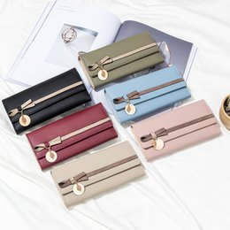 Bow Cards Wholesale Australia - Women's PU Leather Wallet Japan and Korean Style Female Long Bow Pendant Student Multi-function Phone Card Clutch Purse Bag Ladies Wallet