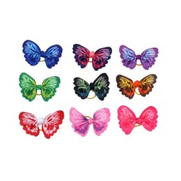 hair fall products NZ - 50pcs Wholesale Butterflies Dogs Bows Hair Accessories with Rubber Band For Long Hair Dogs Pet Grooming Products honden strikjes