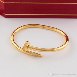 Venta al por mayor de Venta caliente marca 316L Titanium nail punk de los amantes de los brazaletes con diamantes y sin logo de diamantes para las mujeres y el hombre joyería PS7 envío gratis